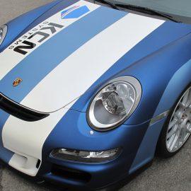 """Vollfolierung+Beschriftung: Farbe """"pearlescent blue"""" Porsche 997 GT3"""
