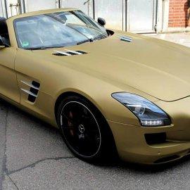 Mercedes-Benz SLS Roadster, Komplettfolierung, Gold Metallic