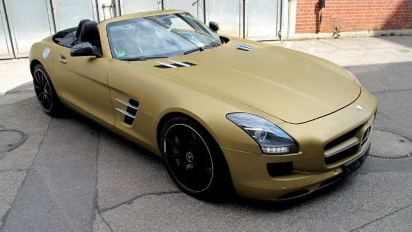 Mercedes-Benz SLS Roadster, Komplettfolierung, Gold Metallic